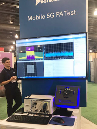 National Instruments' mobile 5G PA test demo using Qorvo's QM19000, a 5G RF FEM for mobile devices